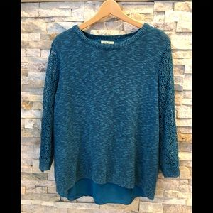 Lucky Brand spring sweater with 3/4 lace sleeves